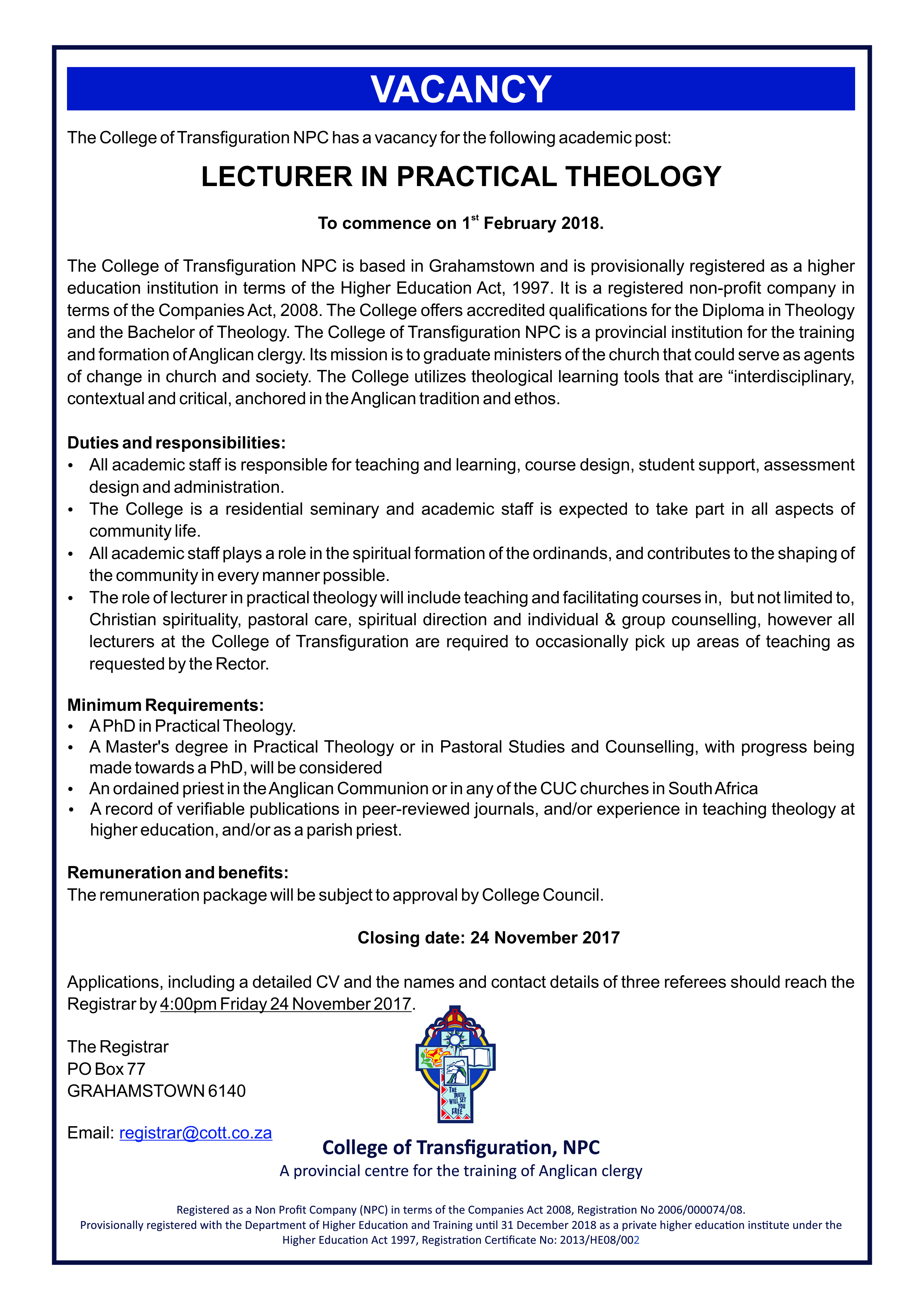 Vacancy Advert 2018 – Anglican Church of Southern Africa